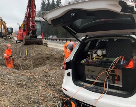 Ultraschallmessungen Wildtierunterführung Autobahn Kiesen